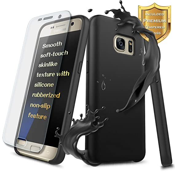Galaxy S7 Slim Fit Case w/[Tempered Glass Screen Protector], Nagebee [Good  Grip] Liquid Silicone Gel Rubber Drop Protection [Scratch Resistance]