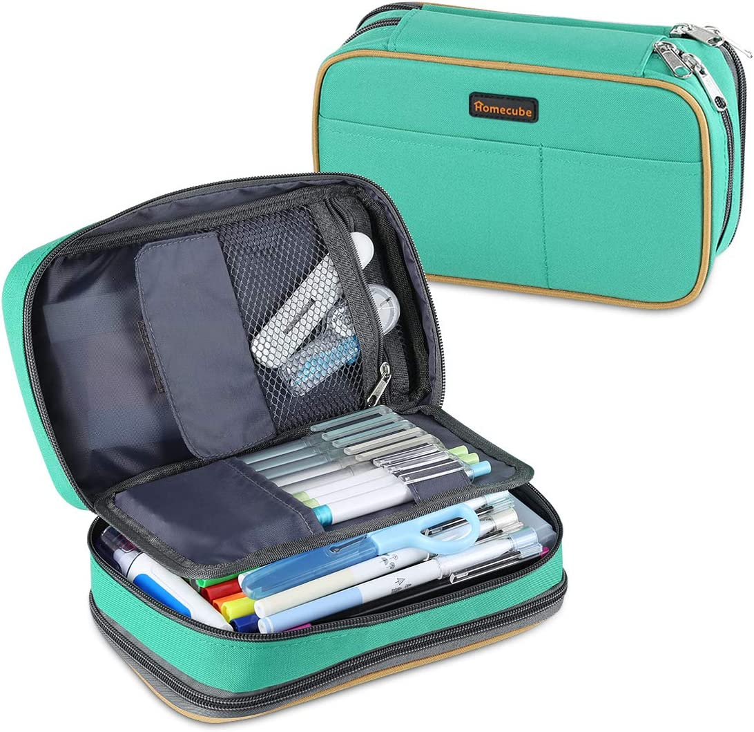 """Homecube Pencil Case Big Capacity Storage Pen Bag Makeup Pouch Durable Students Stationery Two Big Pockets with Double Zipper- 8.7x6x3.2""""- Green"""