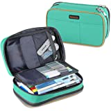 """Pencil Case, Homecube Large Capacity Pen Bag Makeup Pouch Durable Students Stationery Two Big Pockets with Double Zipper 8.7x6x3.2"""" (Green)"""