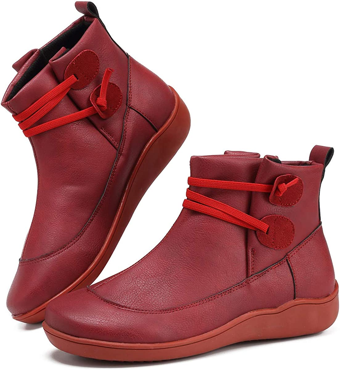 New Arch Support Boots with Side Zipper Leather Comfortable Shoes Booties