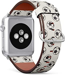 Compatible with Apple Watch Series 5, 4, 3, 2, 1 (Big Version 42/44 mm) Leather Wristband Bracelet Replacement Accessory Band + Adapters - Doodle Soccer