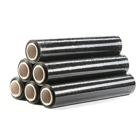 6 Rollen Verpackungsfolie 150mx500mmx23µm Stretchfolie Umzugsfolie Folie schwarz