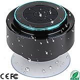 Shower Speaker, IPX7 Portable Fully Waterproof Bluetooth Speaker with FM Radio, Hands-Free Speakerphone. Rechargeable Using Micro USB, Perfect Speaker for Golf, Beach, Shower & Home (Dark Blue)