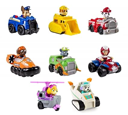 Amazon Com Paw Patrol Racers Bundle Of 8 Vehicles Chase Marshall