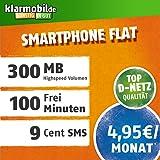 klarmobil Smartphone Flat S in D-Netz Qualität (SIM, Micro-SIM und Nano-SIM, 4,95 EUR mtl., 100 Frei-Minuten in alle deutschen Netze, 300MB Highspeed Internet, 24 Monate Laufzeit)