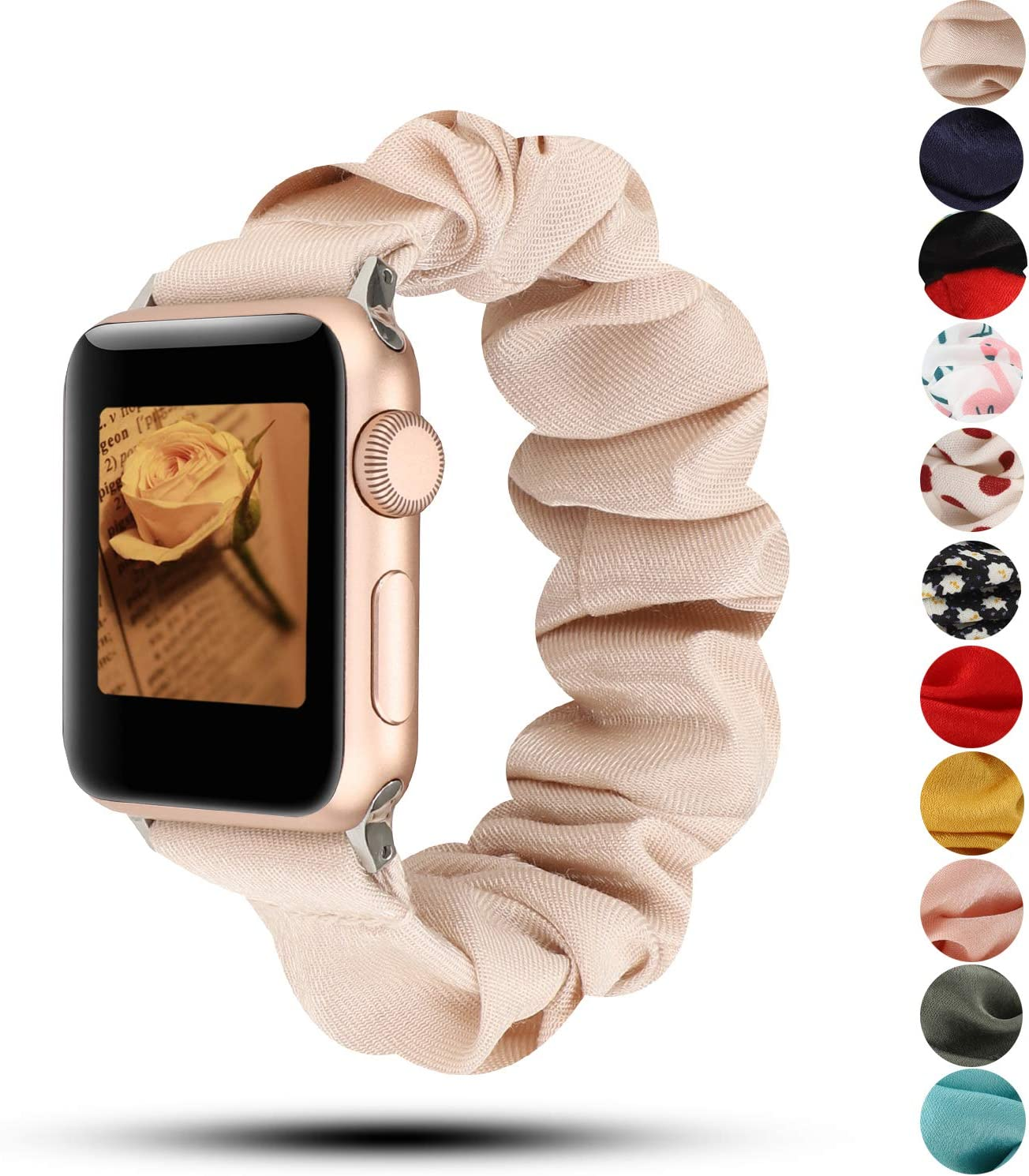 Women Scrunchie Bands Compatible for Apple Watch Band 38mm 40mm 42mm 44mm,Cute Pattern Printed Bracelet Replacement Wristbands for iWatch Series 5 4 3 2 1 (Beige, 38/40mm)