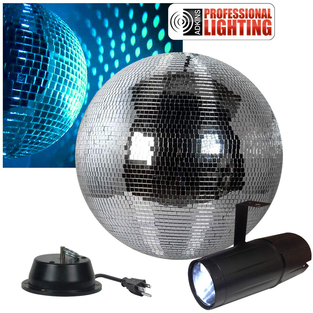 12'' Disco Mirror Ball Complete Party Kit with LED Pinspot and Motor - Adkins Professional Lighting