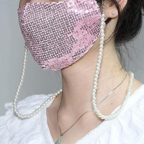 Gold Yienate Mode Multifunktionale Gesichtsmaske Kette Perle Handgemachte Runde Perlenkette Brillenkette Trendy Maskenhalter Maske Zubeh/ör f/ür Frauen und M/ädchen