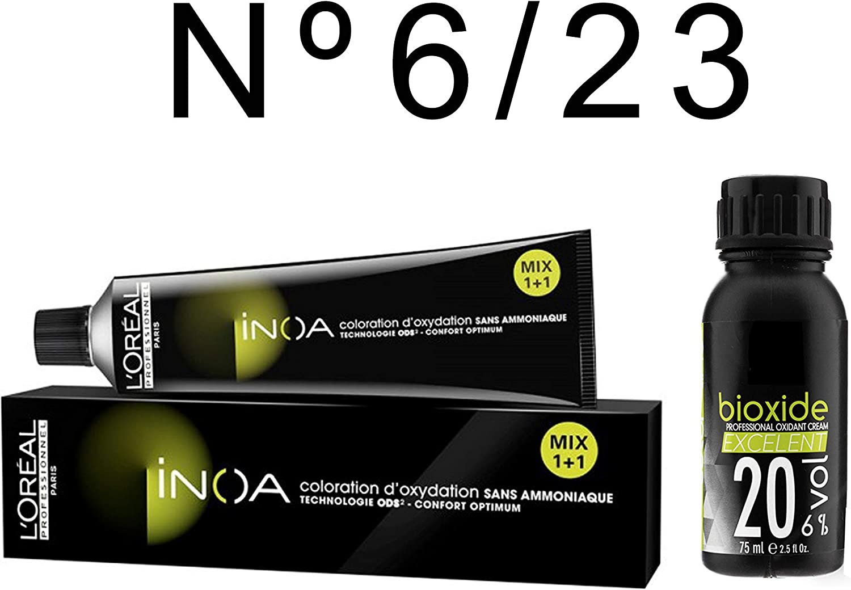 L Oréal Professionnel Inoa nº 6,23 colorante + oxygéné 20 Vol ...