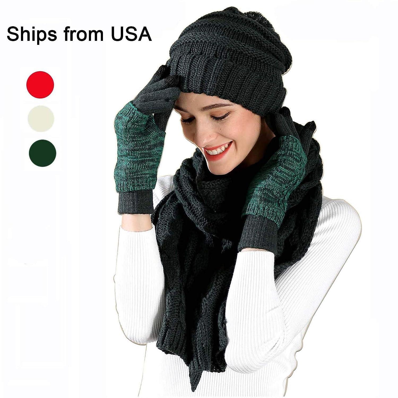 Amazon.com  Warm Beanie Hat Scarf Set Touchscreen Gloves Winter Kint Cap  Pom Pom Hat Mitten (Deep Green)  Sports   Outdoors b9a3c0f71d6