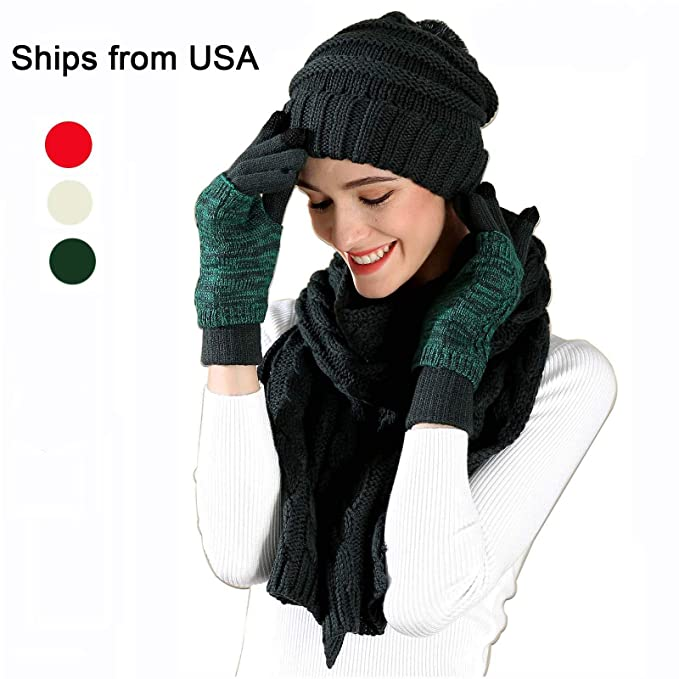 129801e81cd Warm Beanie Hat Scarf Set Touchscreen Gloves Winter Kint Cap Pom Pom Hat  Mitten (Deep