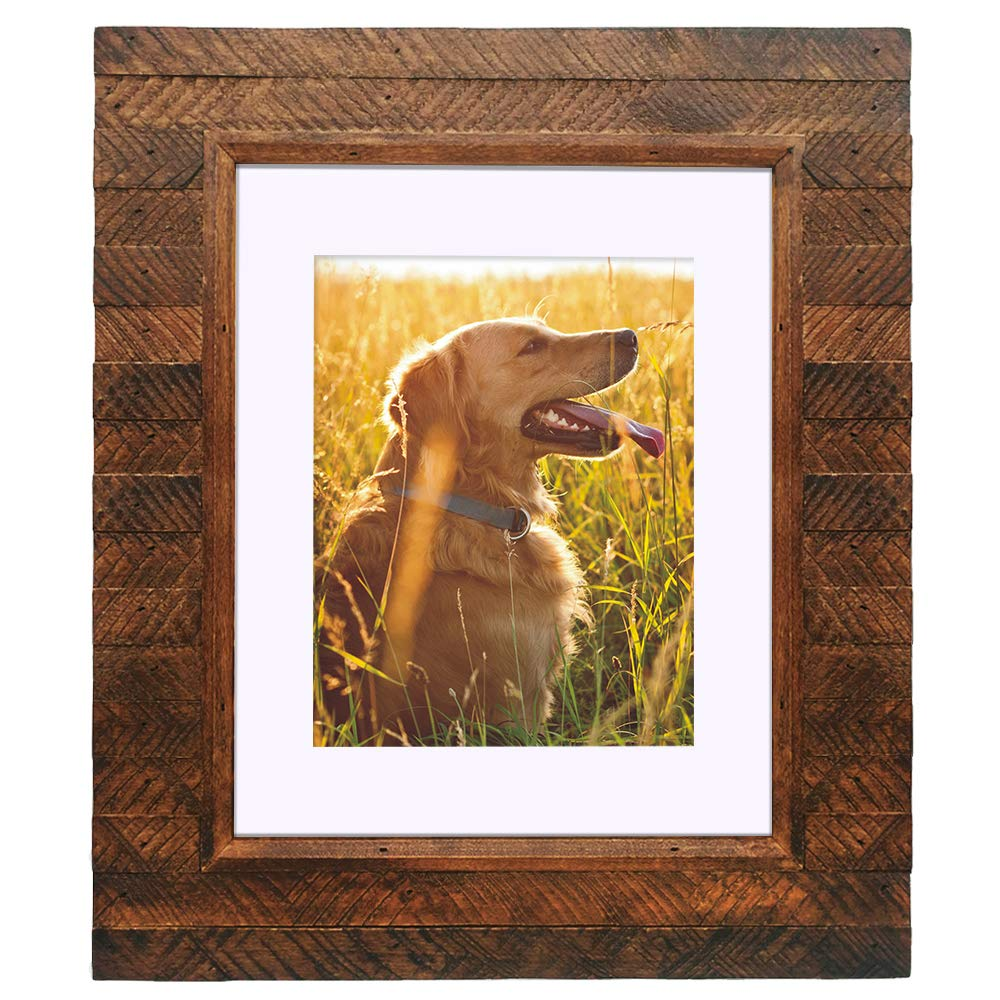 Eosglac 11x14 Picture Frame Rustic Brown - Display Pictures 8x10 with Mat or 11x14 Without Mat, Photo Frames Wall Mounting Display