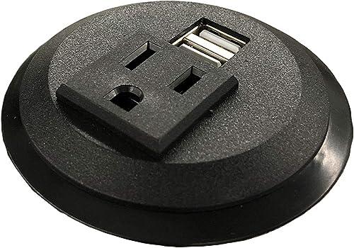 Pwr Plug Power Grommet for Desk Office Furniture Fits 2 -2.5 Standard Grommet Hole 1 AC Outlets 2 USB Charging Ports ETL Listed Black – Round