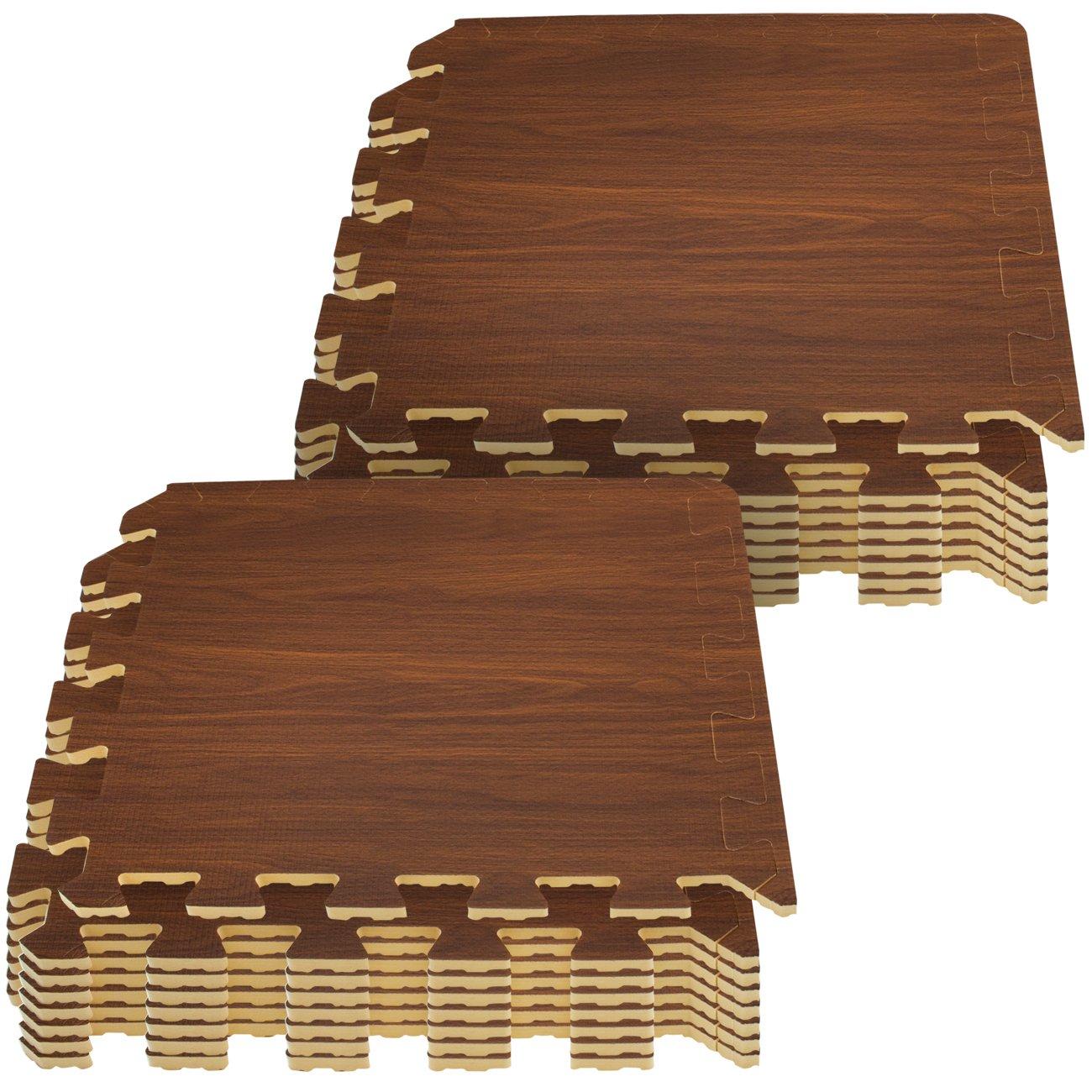 Amazon foam interlocking floor mats case of 48 black sorbus wood grain floor mat 38 inch thick foam interlocking flooring tiles with doublecrazyfo Image collections