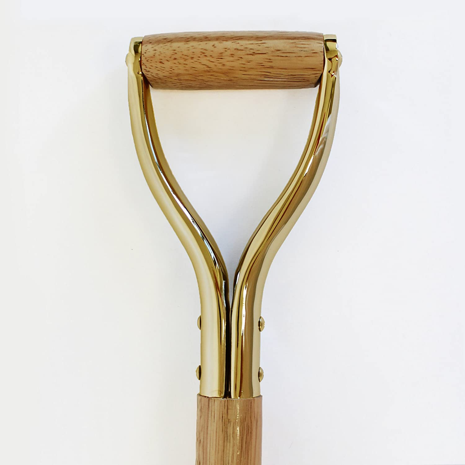 Show Mirror Finish Gold Plated Groundbreaking Ceremonial Shovel with attached Pre-Laser Engraved Plate GROUNDBREAKING 2019