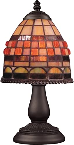 Elk 080-Tb-10 Mix And Match Jewelstone Tiffany Table Lamp, Bronze