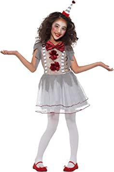 Smiffys Clown Girl Costume Disfraz de payaso vintage, color gris y ...