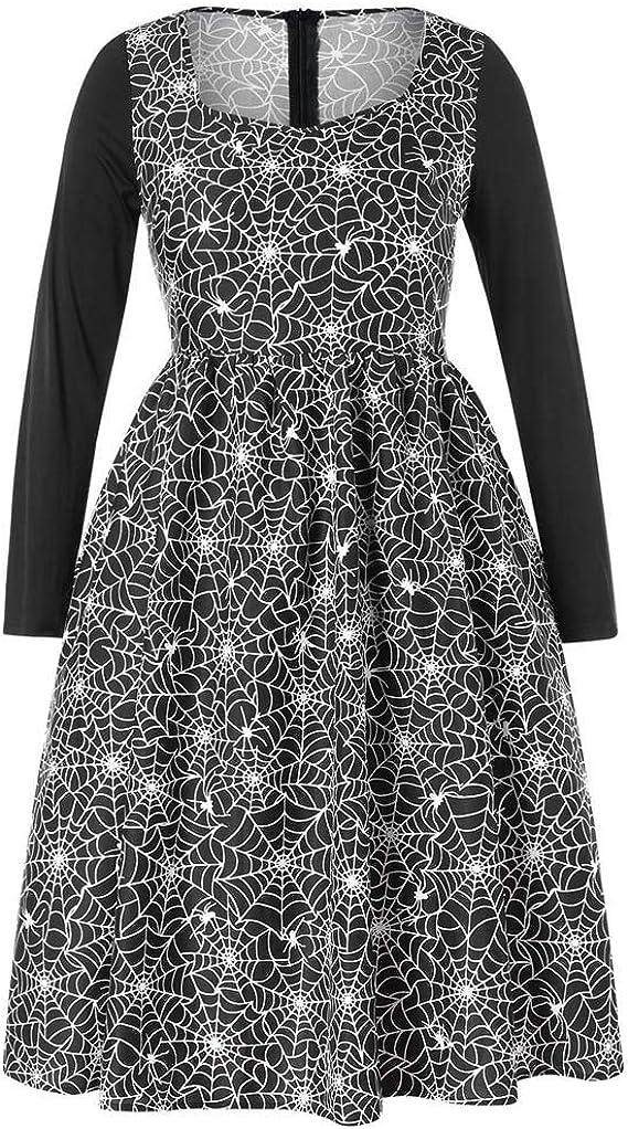 LUCKYCAT Vestido Largo de la Tira sin Mangas del Hilado de la impresión de la Tela Escocesa del Partido de Halloween de Las Mujeres más tamaño: Amazon.es: Ropa y accesorios