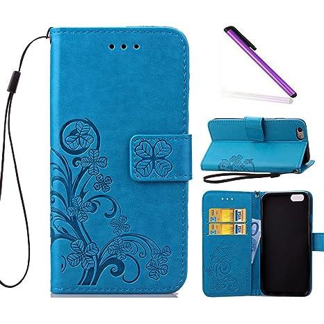 f7814d6338a COTDINFOR iPhone 6 Funda trébol Cierre Magnético Billetera con Tapa para  Tarjetas de Cárcasa Elegante Retro