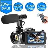 ビデオカメラ デジタルカメラ カムコーダー フルHD 1080p 30FPSビデオブログカメラ 一時停止機能 外付けマイク リモコン付属