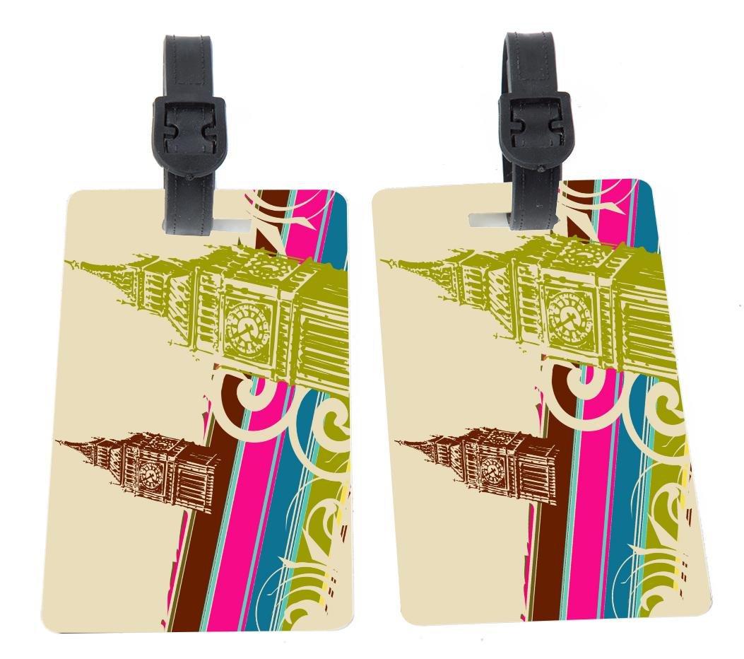 Fine art big ben retro Design Plastic Flexi Luggage Identifier Tags + Strap Closure by Rikki Knight (Image #1)