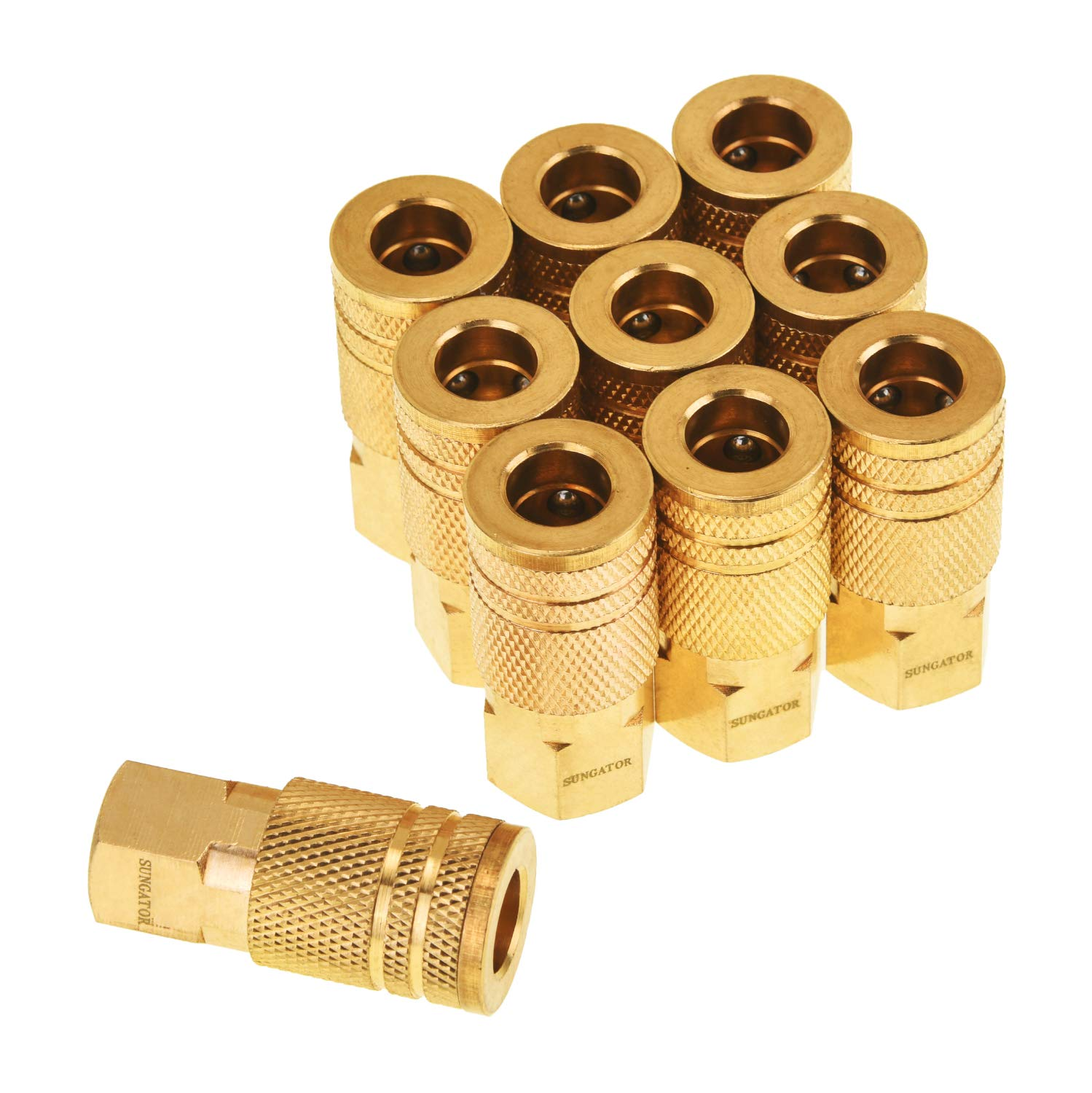 SUNGATOR 1/4-Inch Brass Female Industrial Coupler, 10-Pack NPT Female Quick Connect Air Coupler with Storage Case