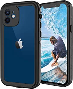 T-Bee iPhone 12 Waterproof Case, IP68 Full-Body Rugged Protective Cover with Clean Sound, Shockproof Snowproof Dustproof Case with Support Wireless Charging for Apple iPhone 12 (6.1 Inch, Black)