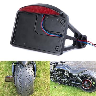 Motorcycle Mount License Plate Brake Tail Light Bracket For Bobber Chopper Harley: Automotive