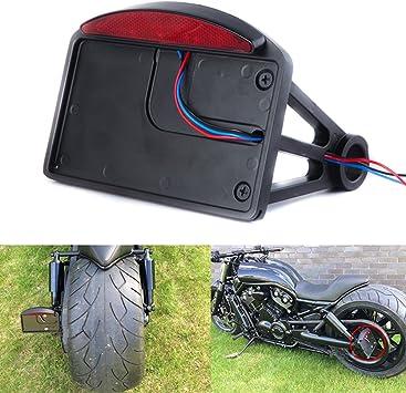 para Harley Universal sin luz trasera Motocicleta Lateral Soportes para matr/ícula