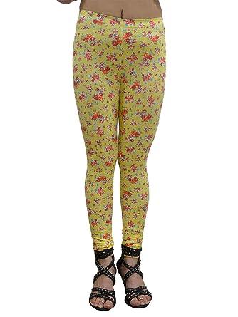 1d7643c7b4f98a Vivian's Fashions Long Leggings - Flowers, Junior Size (Small) Yellow