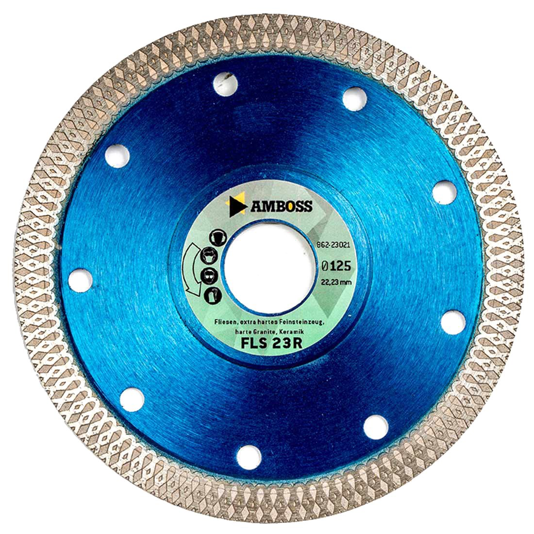 Amboss FLS 23R Revolution Ultra-Thin Diamond Cutting Disc 1.2 mm for Tiles/Extra-Hard Porcelain Stoneware/Hard Granite/Ceramic Different Diameters Available, Hole: 22.2 mm, Segment Height: 10 mm, Ø 115 mm x 22,2 mm, 1