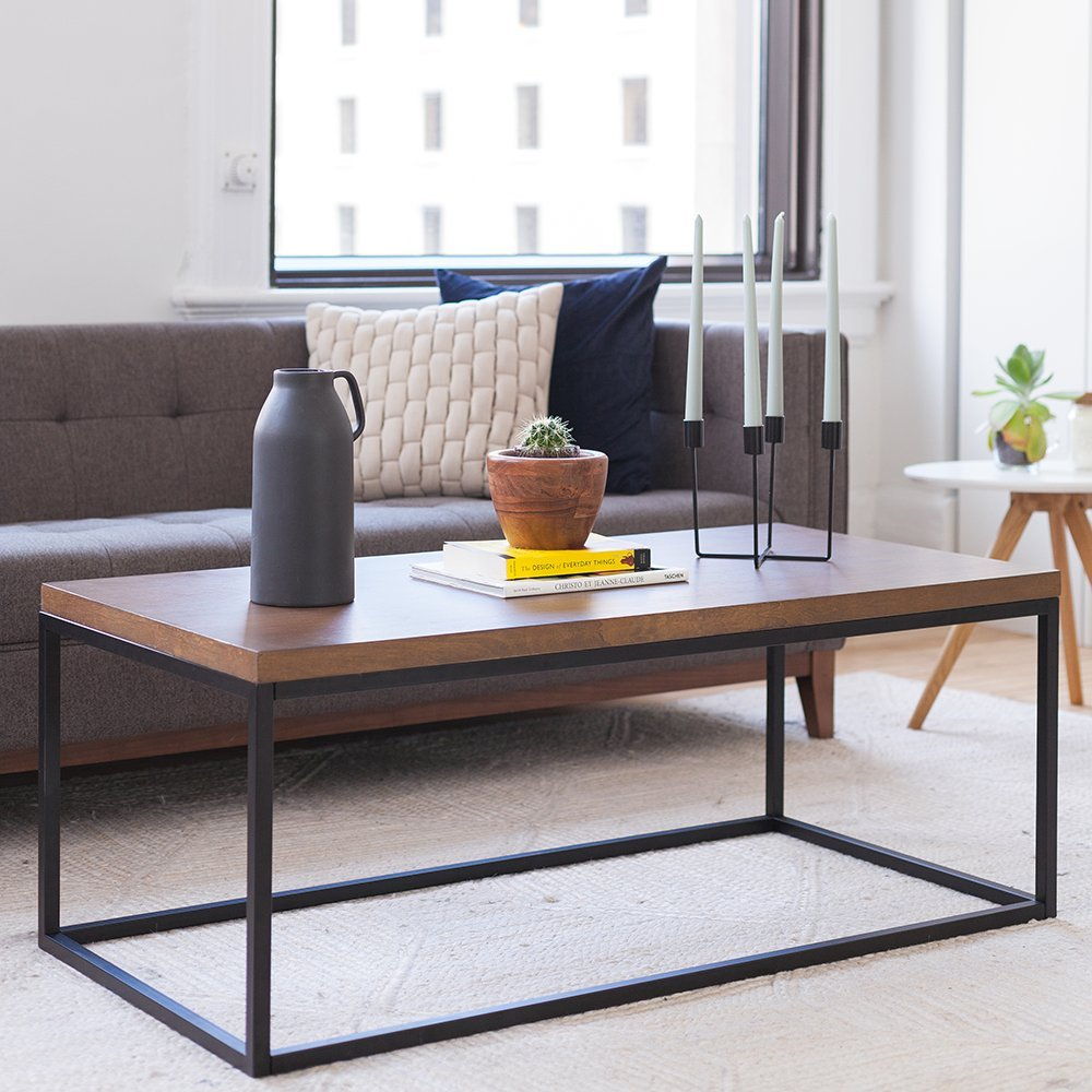 Solid Wood Coffee Table - Modern Industrial Space Saving Sofa/Couch Living Room Furniture, Metal Box Frame, Dark Walnut