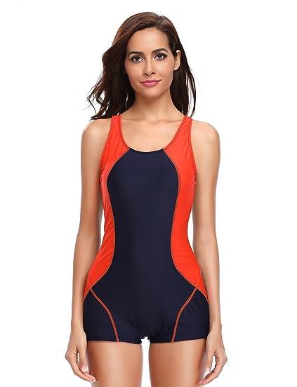 2d0c908af LALAVAVA Womens One Piece Swimsuit Boyleg Sports Racerback Swimwear (Navy  Orange