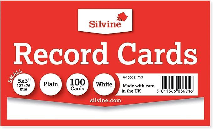 lot de 100 Silvine 127/x 76/mm lign/ées enregistrer carte/ /Blanc