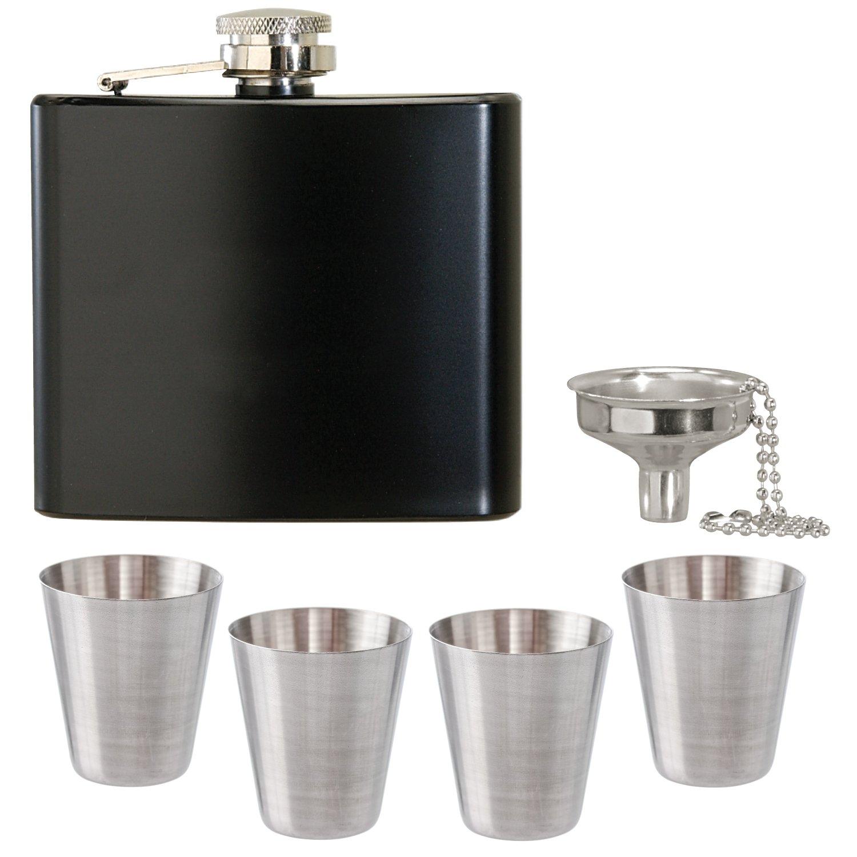 【激安アウトレット!】 Thirsty Rhinoステンレススチールブラックフラスコ Thirsty、Mini Funnel、ショットグラスギフトセット B073DQ9DW7 B073DQ9DW7, ナガヌマチョウ:b57b81e9 --- a0267596.xsph.ru