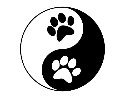 Amazon Yin Yang Symbol With Dog Paws 4 X 4 Vinyl Die Cut