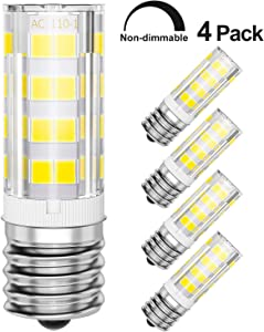 4-Pack Microwave Light Bulbs 40W Standard Replacement, 6000K Daylight, E17 Base LED Appliance Bulb, Non-Dimmable