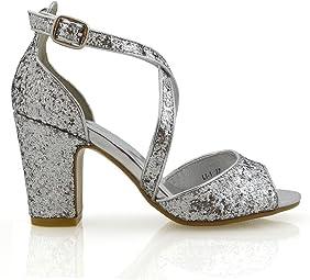glitter shoes block heel