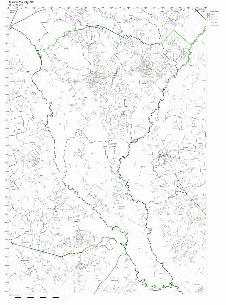 Amazon Com Marion County South Carolina Sc Zip Code Map Not