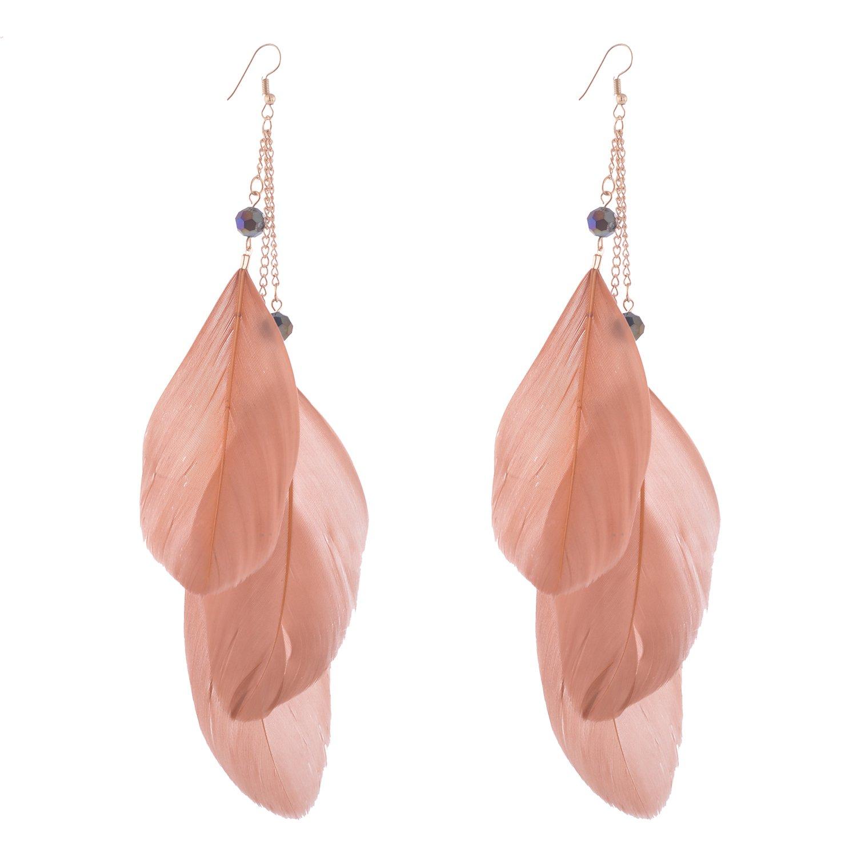 lureme® Bohemian Style Women Jewelry 3 Big Feather Long Tassel with Crystal Pendant Dangle Earrings (er005299) Yida er005299-4