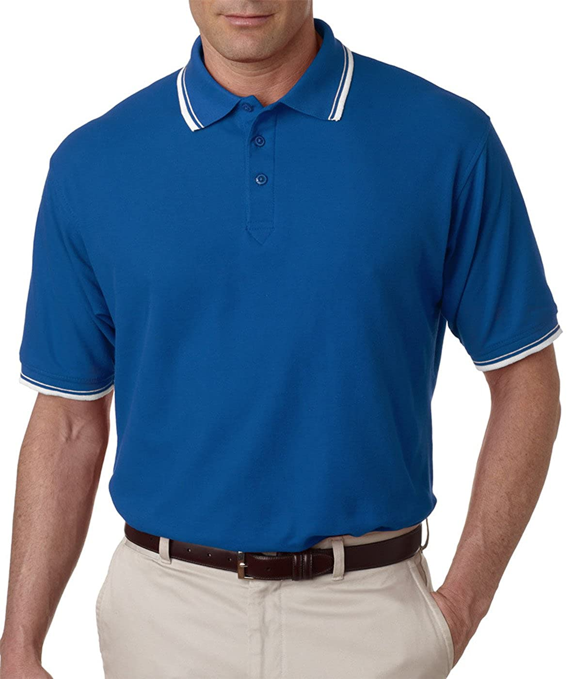 UltraClub Mens Blend Whisper Tipping Pique Polo Shirt