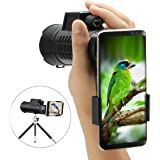 10x52 Focus Monocular Scope,SGODDE Portable HD Spotting Scopes Optical Prism Telescope - Compact Monocular with Hand Strap/Tripod and Universal Cell Phone Adapters for Wildlife Viewing