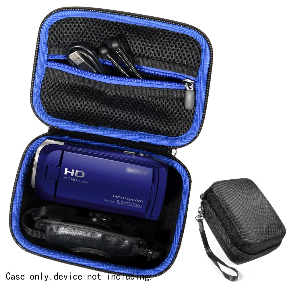 Semi-hard Camcorder Case for Sony HD Video Recording HDRCX405, HDRCX440 Handycam; Canon VIXIA HF R800, Panasonic HC-V180K and Kimire HD Recorder, Professional Hard Case with SD, Memory Card Pockets,