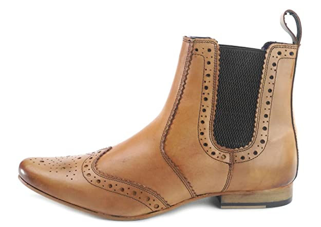 Frank James Harrow Mens Pointed Toe Leather Brogue Chelsea Boots Harlington  Black Tan: Amazon.co.uk: Shoes & Bags