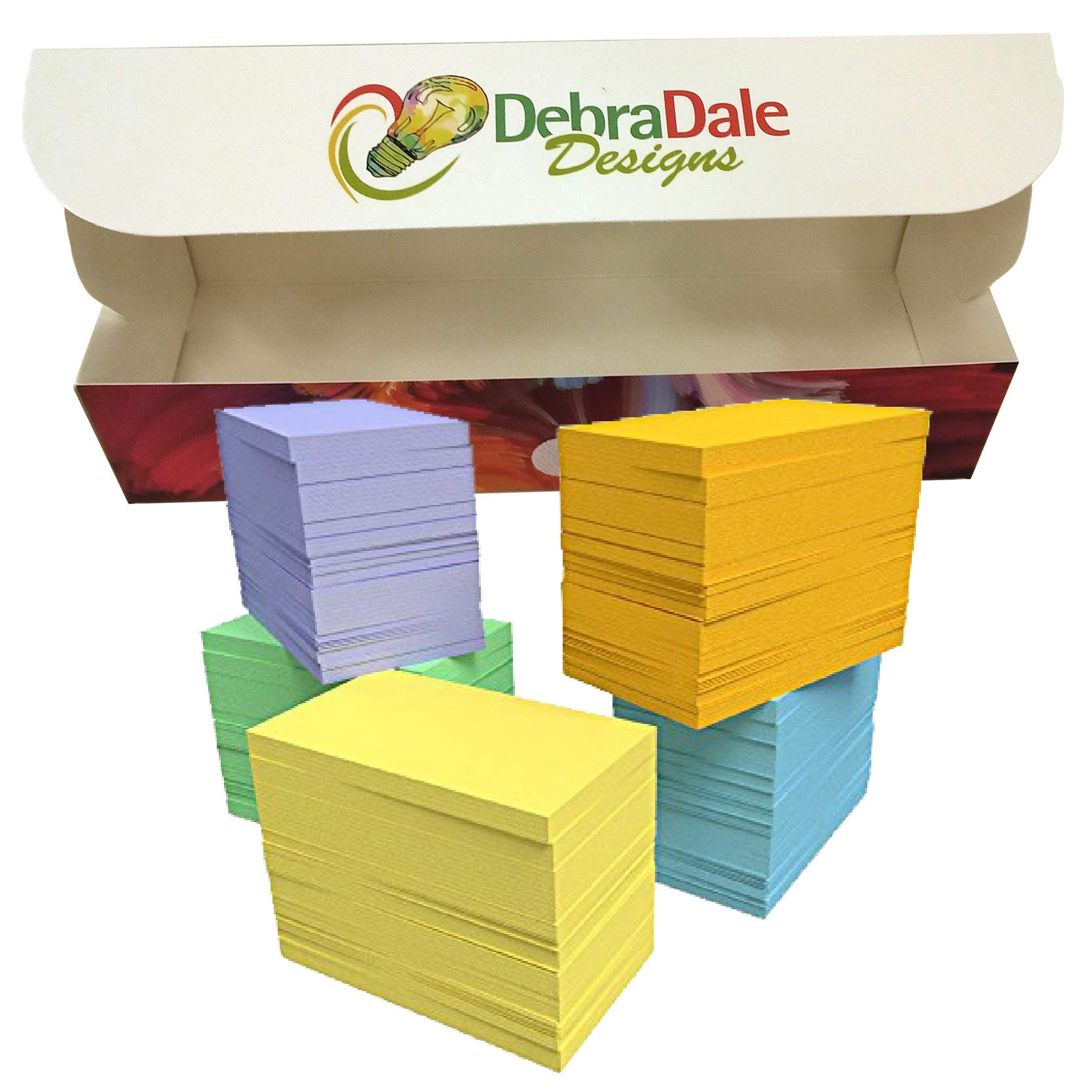 DEBRADALE DESIGNS - Product Made Entirely in the U.S.A. - Small Blank Flash Cards - 2'' x 3.5'' Inches - 5 Colors - 1,100 Cards - Custom Storage Dispenser Box With Attached Lid by DEBRADALE DESIGNS