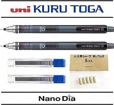 Pack de 2 portaminas Uni Ball Kuru Toga con minas de 0,5 mm, cuerpo de color gris, con 24 minas y 5 gomas de borrar gratis: Amazon.es: Electrónica