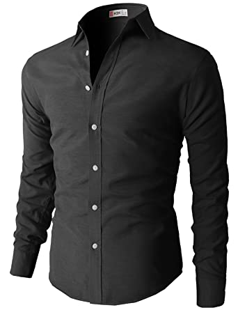 H2H Men's Classic Oxford Cotton Slim Fit Button Down Long Sleeve ...