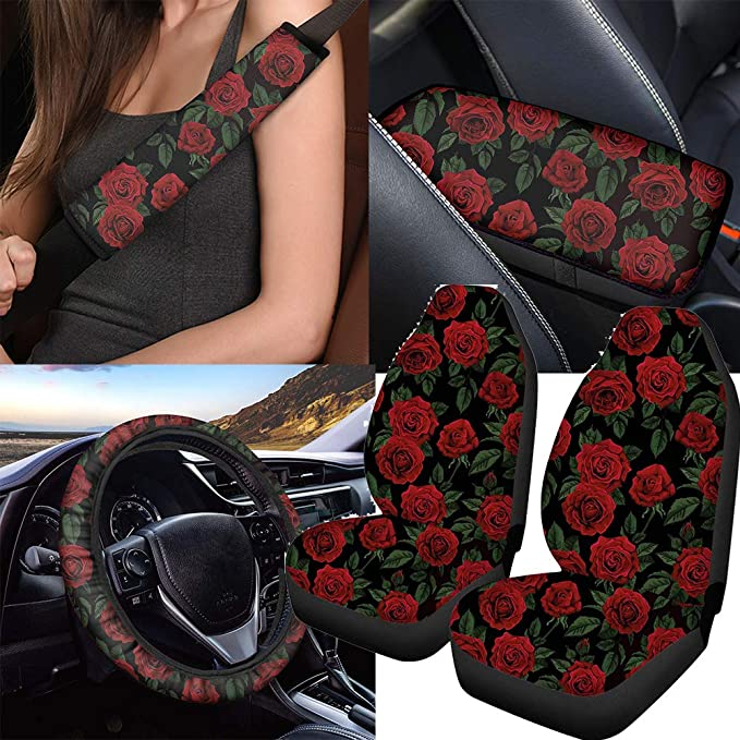 Forchrinse Colorful Rose Flower Car Seat Protector Universal Fit Automobile Vehicle Cushion Cover 2 Pieces