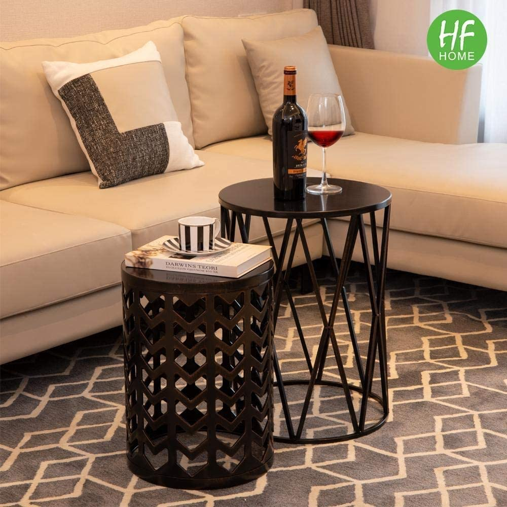 Multifunctional Nesting Round Metal Coffee End Tables Set of 3 Modern Furniture Nightstands Decor Side Tables Plant Stand for Home Office Indoor Garden Outdoor Black with Bronze prush Ship from US