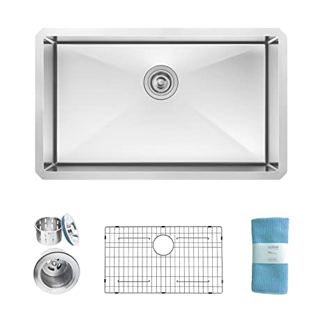 Zuhne Modena 30 Inch Undermount Single Bowl 16 Gauge Stainless Steel  Kitchen Sink